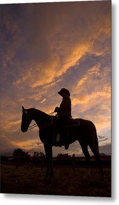 Silhouetted Cowboy Actor On Horseback Metal Print by Ralph Lee Hopkins