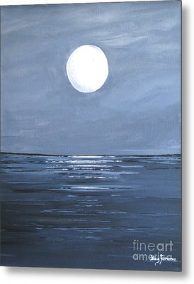 Metal Print featuring the painting Silver Moon by Stacey Zimmerman