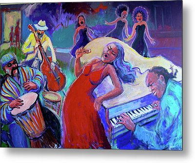 Singin  The Blues Metal Print by Anne Marie Bourgeois