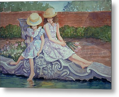 Sisters At The Fountain Metal Print