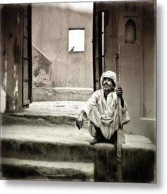 Sitting On Stairs Metal Print by Mostafa Moftah