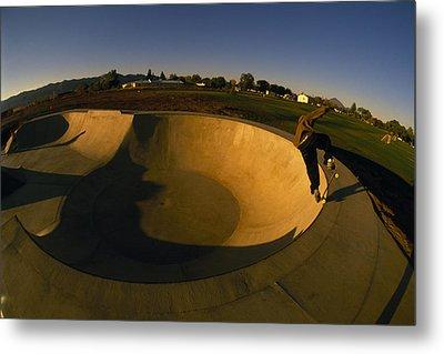 Skateboarding In A Skate Park Metal Print by Bill Hatcher