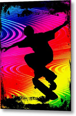 Skateboarding On Rainbow Grunge Background Metal Print by Elaine Plesser