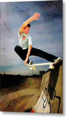 Skateboarding The Wall  Metal Print by Elaine Plesser