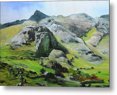 Sketch Of Mountains In Snowdonia Metal Print