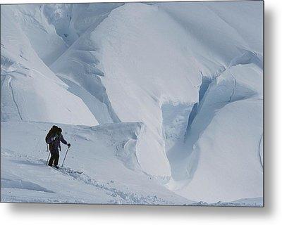 Ski Mountaineer Tom Day Above Big Metal Print by Gordon Wiltsie