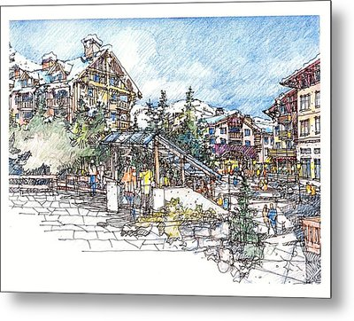 Metal Print featuring the drawing Ski Village by Andrew Drozdowicz