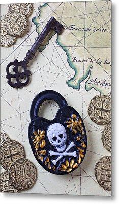 Skull And Cross Bones Lock Metal Print