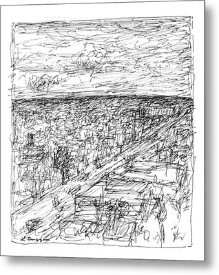 Skyline Sketch Metal Print by Elizabeth Carrozza