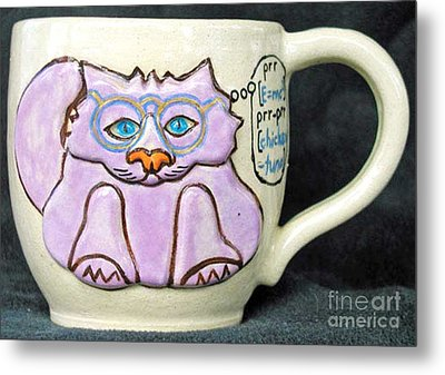 Smart Kitty Mug Metal Print by Joyce Jackson