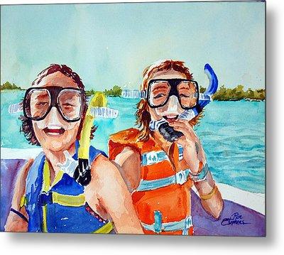 Snorkel Girls Metal Print by Ron Stephens