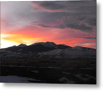 Snow Covered Mountain Sunset Metal Print by Adam Cornelison
