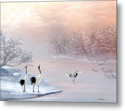 Snow Cranes Metal Print by Thanh Thuy Nguyen