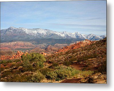 Metal Print featuring the photograph Snowcapped Foothills by Marta Alfred