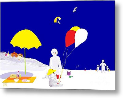 Metal Print featuring the digital art Snowman Family Holiday by Barbara Moignard