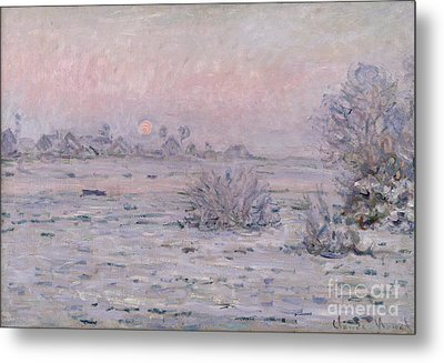 Snowy Landscape At Twilight Metal Print