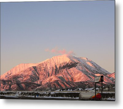 Snowy Mountain At Sunset Metal Print by Adam Cornelison