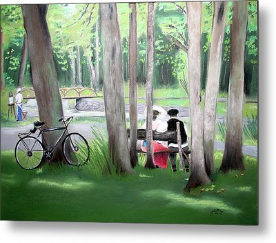Solace In The Park Metal Print by Barbara Gulotta