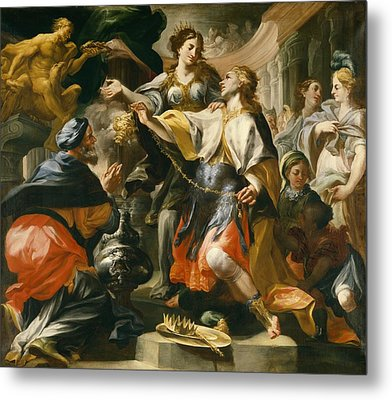 Solomon Worshiping The Pagan Gods Metal Print by Domenico Antonio Vaccaro