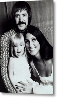 Sonny & Cher With Daughter Chastity Metal Print by Everett