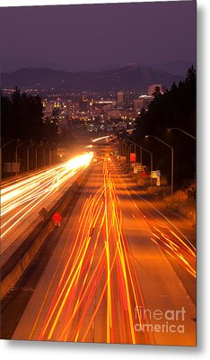 Spokane At Night Metal Print by Beve Brown-Clark Photography