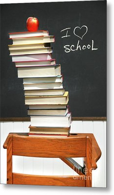 Stack Of Books On An Old School Desk  Metal Print by Sandra Cunningham