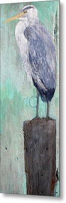 Standing Heron Metal Print by Lisa Baack