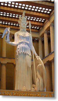 Statue Of Athena And Nike Metal Print by Linda Phelps