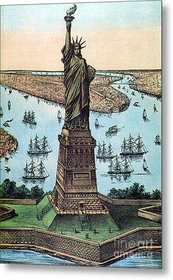 Statue Of Liberty, 1884 Metal Print by Photo Researchers