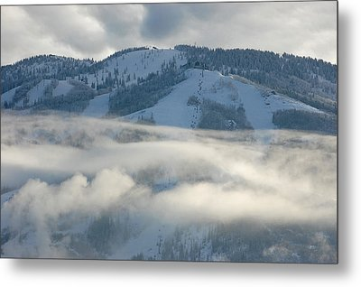 Metal Print featuring the photograph Steamboat Ski Area In Clouds by Don Schwartz