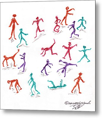 Stickmen October Two Thousand One Metal Print by Carl Deaville