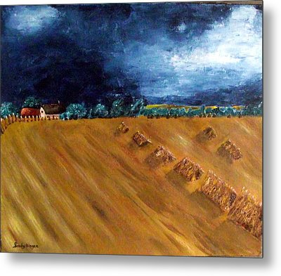 Stooks At Winkleigh Metal Print by Sandy Wager