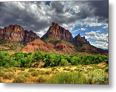 Storm Brewing In Desert Metal Print