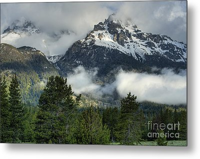 Storm  In The Tetons Metal Print by Sandra Bronstein