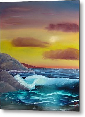 Metal Print featuring the painting Stormy Beach by Charles and Melisa Morrison