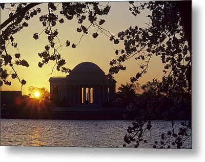 Sun Setting Over The Jefferson Memorial Metal Print by Kenneth Garrett