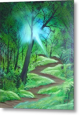 Metal Print featuring the painting Sunlight In The Forest by Charles and Melisa Morrison