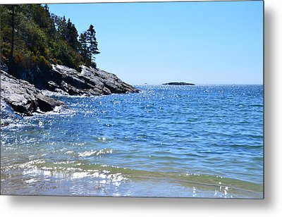 Sunlight Reflections Along Sand Beach Acadia Park Maine Metal Print by Martin Rogers
