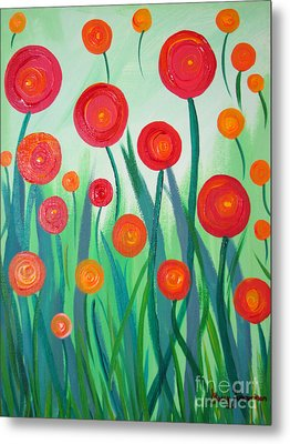 Metal Print featuring the painting Sunset Flowers by Stacey Zimmerman