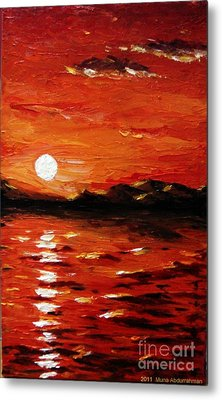Sunset On The Sea Metal Print by Muna Abdurrahman
