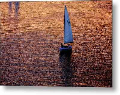 Sunset Sailing Metal Print by Rick Berk