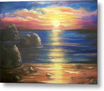 Sunset Seascape Metal Print by Joni McPherson