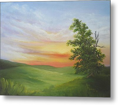 Sunset With A Tree Metal Print by Mary Rogers