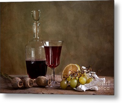 Supper With Wine Metal Print by Nailia Schwarz
