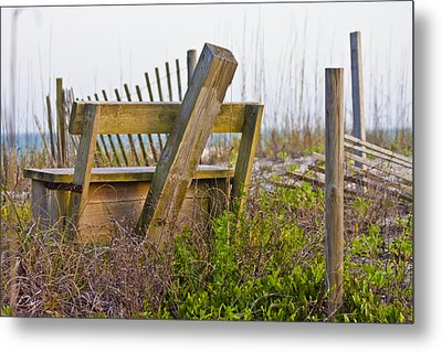 Surf City Chair Metal Print by Betsy Knapp