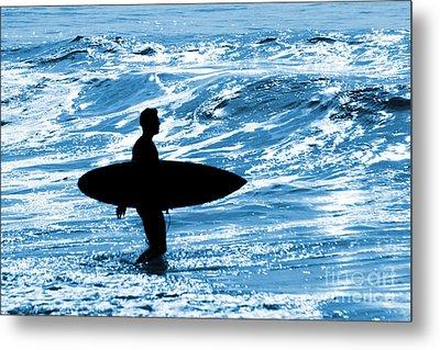 Surfer Silhouette Metal Print by Carlos Caetano
