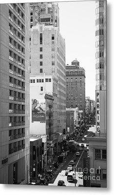 Sutter Street West View . Black And White Photograph 7d7506 Metal Print by Wingsdomain Art and Photography