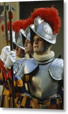 Swiss Guards, Standing At Attention Metal Print