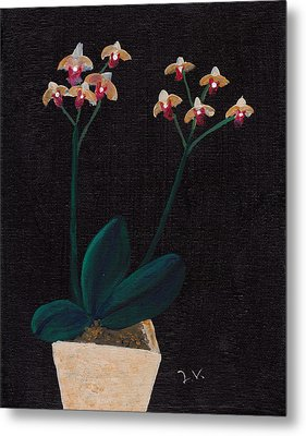 Table Orchid Metal Print by M Valeriano