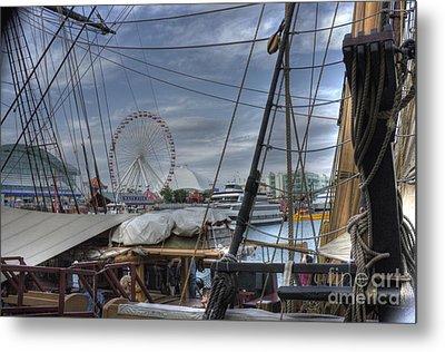 Tall Ships At Navy Pier Metal Print by David Bearden